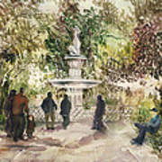 Fountain In The Park Art Print