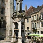 Fountain On The Market Place Autun Art Print