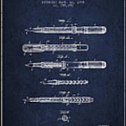 Fountain Pen Patent From 1905 - Navy Blue Art Print