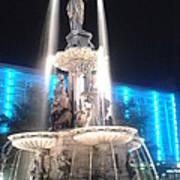 Fountain Square At Night Art Print