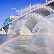 Fountains And The Market Street Bridge Art Print by Tom and Pat Cory