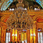 Four And One-half Ton Crystal Chandelier In Ceremonial Hall In Dolmabache Palace In Istanbul-turkey  Art Print