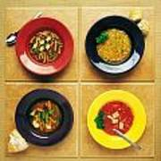Four Dishes Of Different Food Art Print