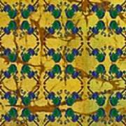 Four Fancy Fiddles Tiled On Gold Batik Art Print
