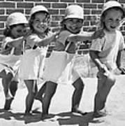 Four Little Girls Having Fun Art Print