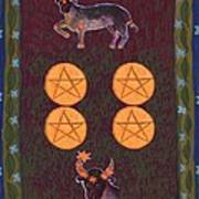 Four Of Pentacles Art Print