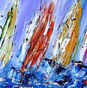 Four Sails To Four Winds Available As A Signed And Numbered Print On Canvas See Www.pixi-art.com Art Print