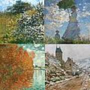 Four Seasons A Collage Of Monets Art Print