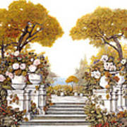 four seasons-autumn on lake Maggiore Art Print by Guido Borelli