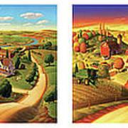 Four Seasons On The Farm Print by Robin Moline