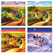Four Seasons On The Farm Squared Art Print