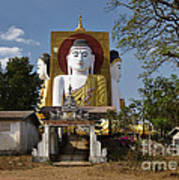 four sitting Buddhas 30 metres high looking in four points of the compass at Kyaikpun Pagoda Art Print