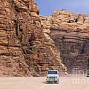 Four Wheel Drive Vehicles At Wadi Rum Jordan Art Print