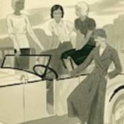 Four Women With A Car Art Print
