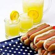 Fourth Of July Hot Dogs And Lemonade Print by Amy Cicconi
