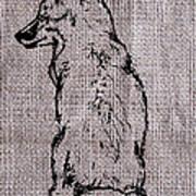 Fox On Burlap  Art Print