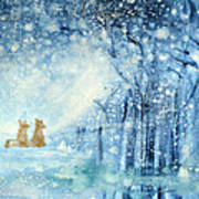 Foxes In The Snow Art Print