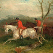 Foxhunting Coming To A Fence Full Cry Signed And Dated Art Print