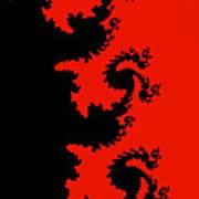 Fractal Black Dragons Art Print