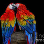 Fractal Parrots Art Print