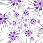 Fractal Purple Flowers Art Print