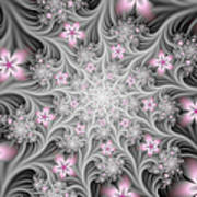 Fractal Soft Flowers Art Print