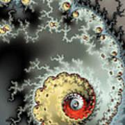 Fractal Spiral Design Grey Khaki Red Art Print