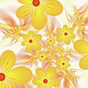 Fractal Yellow Flowers Art Print