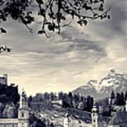 Framed View Of Salzburg From Kapuzinerberg Art Print