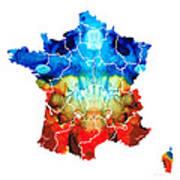 France - European Map By Sharon Cummings Art Print
