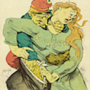 France Portrayed As The Mugger  Of (an Art Print