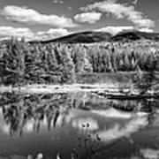 Franconia Ridge Reflection B And W Art Print