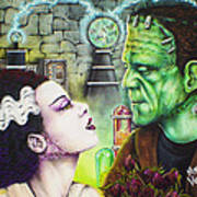 Frankenstein And The Bride Art Print