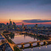 Frankfurt Skyline At Sunset Art Print
