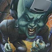 Frankinstein Playing The Air Guitar - Parody - Illustration - Monster Monsters - Humorous Art Print