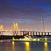 Fred Hartman Bridge From Bayland Marina - Houston Texas Art Print