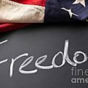 Freedom Sign On Chalkboard Art Print