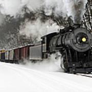 Freight Train With Steam Locomotive Art Print