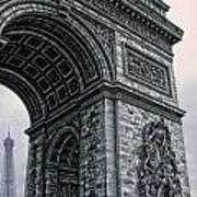 French - Arc De Triomphe And Eiffel Tower II Art Print