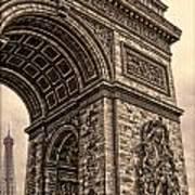 French - Arc De Triomphe And Eiffel Tower IIi Art Print