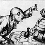 French 18th Century Engraving Of Two Alcoholics Art Print