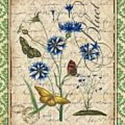 French Botanical Damask-b Art Print
