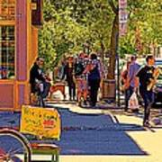 French Bread On Laurier Street Montreal Cafe Scene Sunny Corner With Vente De Garage Sign Art Print