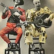 French Clown Musicians Vintage Art Reproduction Tint Art Print