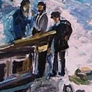 French Fishermen At Beach At Sainte Adresse Art Print