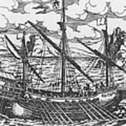 French Galley Operating In The Ports Of The Levant Since Louis Xi  Art Print