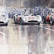 French Gp 1954 Mb W 196 Meserati 250 F Art Print by Yuriy  Shevchuk