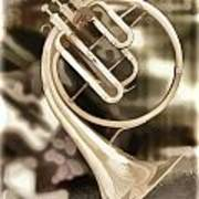 French Horn Antique Classic Painting In Color 3428.02 Art Print