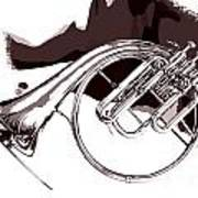 French Horn Painting Antique Classic In Sepia 3426.01 Art Print