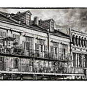 French Market View In Black And White Art Print